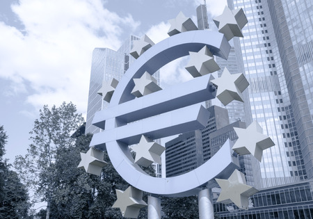 monetary policy: Frankfurt, Germany-May 17: Euro Sign. European Central Bank (ECB) is the central bank for the euro and administers the monetary policy of the Eurozone. May 17, 2014 in Frankfurt, Germany.