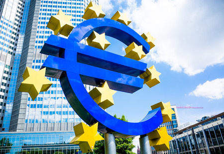 central bank: Frankfurt, Germany-May 17: Euro Sign. European Central Bank (ECB) is the central bank for the euro and administers the monetary policy of the Eurozone. May 17, 2014 in Frankfurt, Germany.