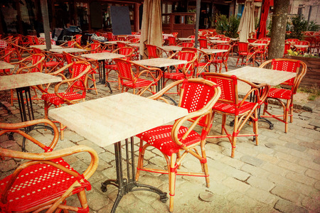 oldfashioned: old-fashioned coffee terrace with tables and chairs Stock Photo