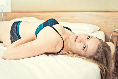 sensual girl: young attractive caucasian woman in lingerie Stock Photo