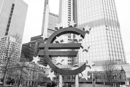 corporate greed: Frankfurt, Germany-February 21 : Euro Sign. European Central Bank (ECB) is the central bank for the euro and administers the monetary policy of the Eurozone. February 21, 2015 in Frankfurt, Germany.