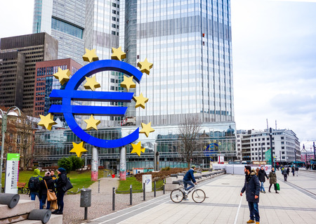 eurozone: Frankfurt, Germany-February 21 : Euro Sign. European Central Bank (ECB) is the central bank for the euro and administers the monetary policy of the Eurozone. February 21, 2015 in Frankfurt, Germany.