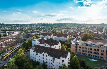 stuttgart: Stuttgart city with buildings and trees, germany