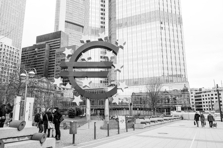 ecb: Frankfurt, Germany-February 21 : Euro Sign. European Central Bank (ECB) is the central bank for the euro and administers the monetary policy of the Eurozone. February 21, 2015 in Frankfurt, Germany.