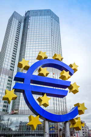 monetary policy: Frankfurt, Germany-February 21 : Euro Sign. European Central Bank (ECB) is the central bank for the euro and administers the monetary policy of the Eurozone. February 21, 2015 in Frankfurt, Germany.