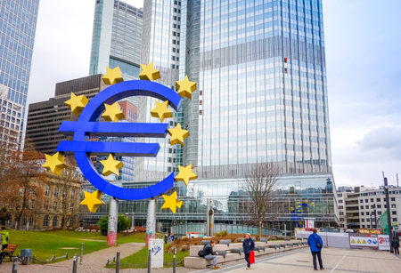 central european: Frankfurt, Germany-February 21 : Euro Sign. European Central Bank (ECB) is the central bank for the euro and administers the monetary policy of the Eurozone. February 21, 2015 in Frankfurt, Germany.