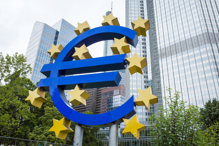 ecb: Frankfurt, Germany-August 16 : Euro Sign. European Central Bank (ECB) is the central bank for the euro and administers the monetary policy of the Eurozone. August 16, 2015 in Frankfurt, Germany. Editorial