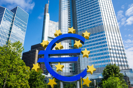 monetary policy: Frankfurt, Germany-August 16 : Euro Sign. European Central Bank (ECB) is the central bank for the euro and administers the monetary policy of the Eurozone. August 16, 2015 in Frankfurt, Germany. Editorial