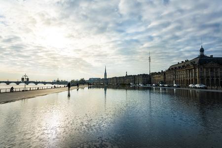 historical reflections: Street view of Place De La Bourse in Bordeaux city, France Europe