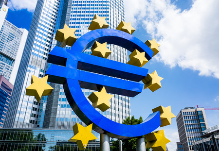 monetary policy: Frankfurt, Germany-May 17 : Euro Sign. European Central Bank (ECB) is the central bank for the euro and administers the monetary policy of the Eurozone. May 17, 2014 in Frankfurt, Germany Editorial