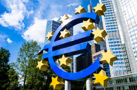 corporate greed: Frankfurt, Germany-May 17 : Euro Sign. European Central Bank (ECB) is the central bank for the euro and administers the monetary policy of the Eurozone. May 17, 2014 in Frankfurt, Germany Editorial