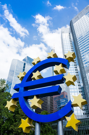 eurozone: Frankfurt, Germany-May 17 : Euro Sign. European Central Bank (ECB) is the central bank for the euro and administers the monetary policy of the Eurozone. May 17, 2014 in Frankfurt, Germany Editorial