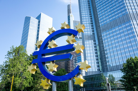 corporate greed: Frankfurt, Germany-May 17 : Euro Sign. European Central Bank (ECB) is the central bank for the euro and administers the monetary policy of the Eurozone. May 17, 2015 in Frankfurt, Germany. Editorial