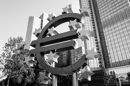 central bank: Frankfurt, Germany-May 17 : Euro Sign. European Central Bank (ECB) is the central bank for the euro and administers the monetary policy of the Eurozone. May 17, 2015 in Frankfurt, Germany. Editorial