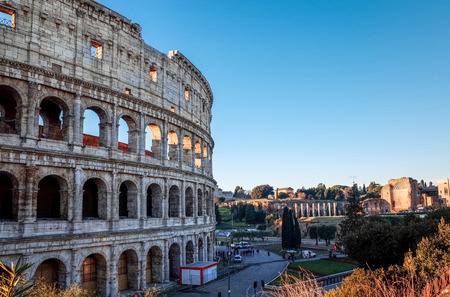 venues: Roman amphitheatres in Rome on January 5, 2015. circular or oval open-air venues with raised seating built by the Ancient Romans. January 5 Rome, ITALY