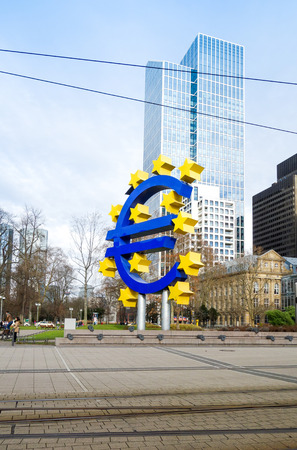 eurozone: Frankfurt, Germany - January 27 : Euro Sign. European Central Bank (ECB) is the central bank for the euro and administers the monetary policy of the Eurozone. January 27, 2016 in Frankfurt, Germany.