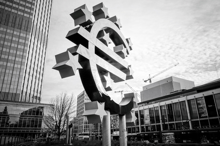 corporate greed: Frankfurt, Germany - January 27 : Euro Sign. European Central Bank (ECB) is the central bank for the euro and administers the monetary policy of the Eurozone. January 27, 2016 in Frankfurt, Germany.
