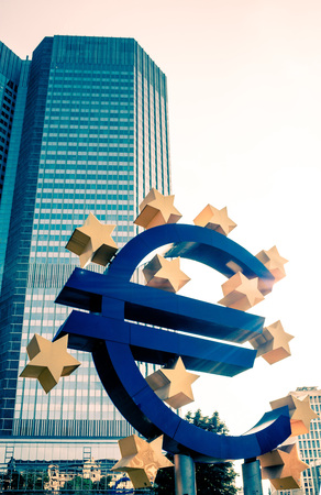 frankfurt stock exchange: Frankfurt, Germany - July 11 : Euro Sign. European Central Bank (ECB) is the central bank for the euro and administers the monetary policy of the Eurozone. July 11, 2015 in Frankfurt, Germany.