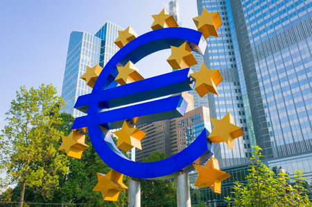 ecb: Frankfurt, Germany - July 11 : Euro Sign. European Central Bank (ECB) is the central bank for the euro and administers the monetary policy of the Eurozone. July 11, 2015 in Frankfurt, Germany.