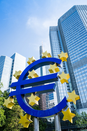 corporate greed: Frankfurt, Germany - May 17 : Euro Sign. European Central Bank (ECB) is the central bank for the euro and administers the monetary policy of the Eurozone. May 17, 2015 in Frankfurt, Germany.