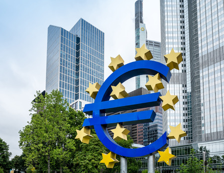 corporate greed: Frankfurt, Germany - July 11 : Euro Sign. European Central Bank (ECB) is the central bank for the euro and administers the monetary policy of the Eurozone. July 11, 2015 in Frankfurt, Germany.