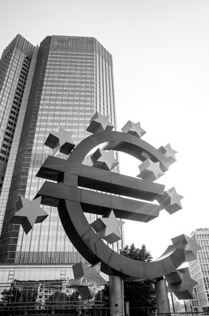 monetary policy: Frankfurt, Germany - July 11 : Euro Sign. European Central Bank (ECB) is the central bank for the euro and administers the monetary policy of the Eurozone. July 11, 2015 in Frankfurt, Germany.