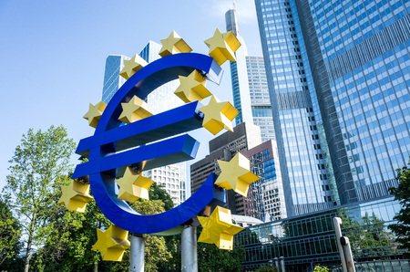 monetary policy: Frankfurt, Germany - May 17 : Euro Sign. European Central Bank (ECB) is the central bank for the euro and administers the monetary policy of the Eurozone. May 17, 2015 in Frankfurt, Germany.
