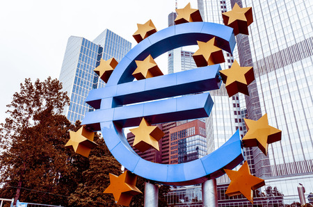 central bank: Frankfurt, Germany - July 11 : Euro Sign. European Central Bank (ECB) is the central bank for the euro and administers the monetary policy of the Eurozone. July 11, 2015 in Frankfurt, Germany.