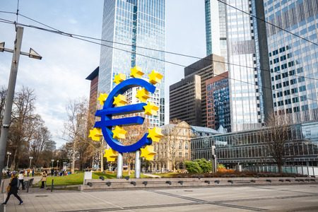 monetary policy: Frankfurt, Germany - January 27 : Euro Sign. European Central Bank (ECB) is the central bank for the euro and administers the monetary policy of the Eurozone. January 27, 2016 in Frankfurt, Germany.