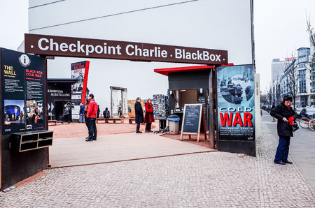 west germany: BERLIN, 14 December: Checkpoint Charlie. Former bordercross in Berlin on 14 December, 2014. Berlin Wall crossing point between East and West Berlin during the Cold War. BERLIN, GERMANY