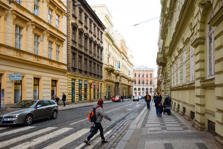 czech culture: PRAGUE, CZECH REPUBLIC - April 26 : Beautiful street view of Traditional old buildings in Prague, Czech Republic. April 26, 2016 in PRAGUE