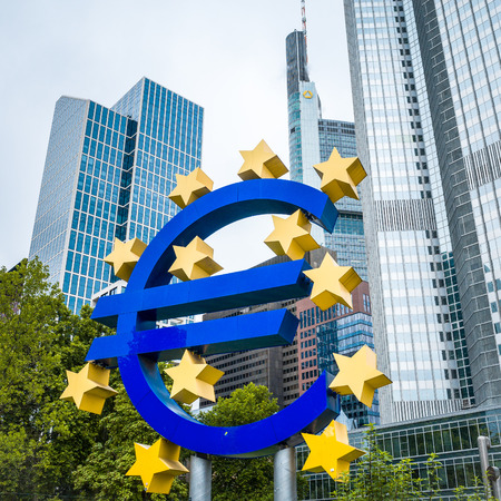 monetary policy: Frankfurt, Germany - July 11 : Euro Sign. European Central Bank (ECB) is the central bank for the euro and administers the monetary policy of the Eurozone. July 11, 2014 in Frankfurt, Germany.