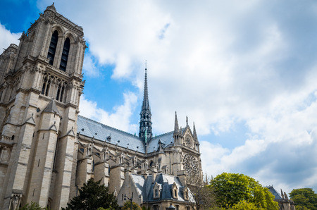 notre dame cathedral: beautiful view Notre Dame Cathedral in Paris France (French for Our Lady of Paris) Stock Photo