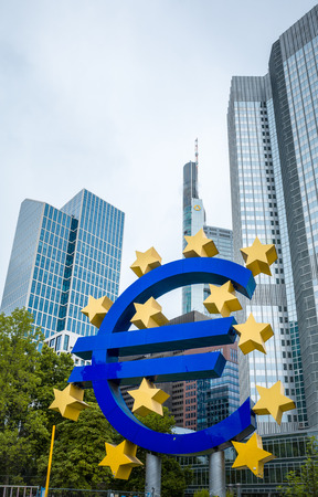ecb: Frankfurt, Germany - July 11 : Euro Sign. European Central Bank (ECB) is the central bank for the euro and administers the monetary policy of the Eurozone. July 11, 2014 in Frankfurt, Germany.