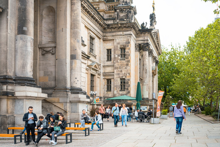 building monumental: BERLIN, GERMANY- May 18, 2016: The Gendarmenmarkt is a square in Berlin, and the site of the Konzerthaus and the French and German Cathedrals. May 18, 2016 in Berlin Editorial