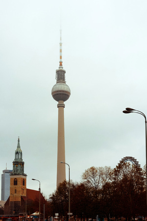 Tv tower or Fersehturm in Berlin,Germany Stock Photo