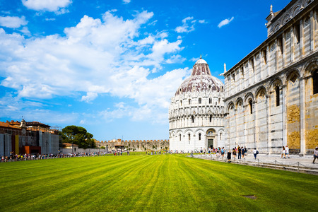 miracle square: Leaning Tower of Pisa in Tuscany,Italy. a Unesco World Heritage Site. Stock Photo