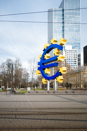 ecb: Frankfurt, Germany - January 27: Euro Sign. European Central Bank (ECB) is the central bank for the euro and the monetary policy Administers of the Eurozone. January 27, 2016 in Frankfurt, Germany.