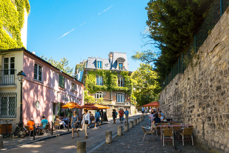 worked: PARIS, FRANCE - August 7 : beautiful Street view of  Montmartre in Paris, many artists had studios or worked in or around Montmartre. August 7, 2016, Paris, France.