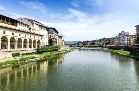 Beautiful view of ancient buildings at old town near the Cathedral of Florence, Italy