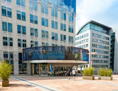 bureaucratic: BRUSSELS, BELGIUM - June 16, 2016 : Exterior of the building of the European Parliament in Brussels, Belgium. it exercises the legislative function of the EU.June 16, 2016, BRUSSELS, BELGIUM Editorial