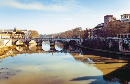 Traditional old buildings Street view in Rome, ITALY Stock Photo