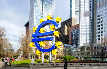 central bank: Frankfurt, Germany - January 27 : Euro Sign. European Central Bank (ECB) is the central bank for the euro and administers the monetary policy of the Eurozone. January 27, 2016 in Frankfurt, Germany.
