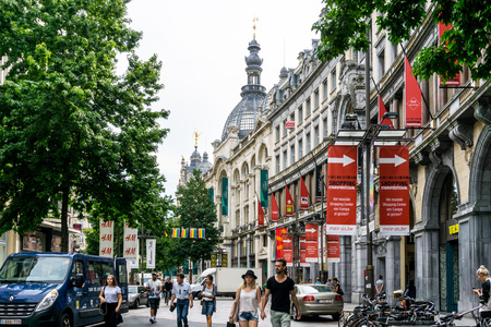 culturally: ANTWERP, BELGIUM - August 18, 2016. Beautiful street view of  Old town in Antwerp, Belgium, has long been an important city in the Low Countries, both economically and culturally. Editorial