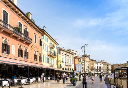 Verona, ITALY - September 3, 2016. Beautiful street view of  Verona center. Shakespeares plays are set in Verona: Romeo and Juliet, The Two Gentlemen of Verona, and The Taming of the Shrew. Editorial