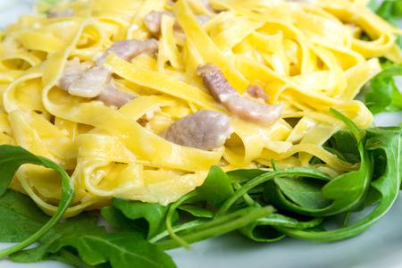 jambon: tasty pasta with roast ham on the table