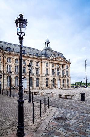 architecture monumental: Street view of old town in bordeaux city, France Europe