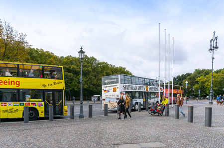approximately: BERLIN, GERMANY- October 8: Typical Street view October 8, 2016 in Berlin, Germany. Berlin is the capital of Germany. With a population of approximately 3.5 million people.BERLIN, GERMANY Editorial