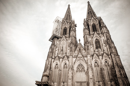 church steeple: view of Gothic Cathedral in Cologne, Germany Stock Photo