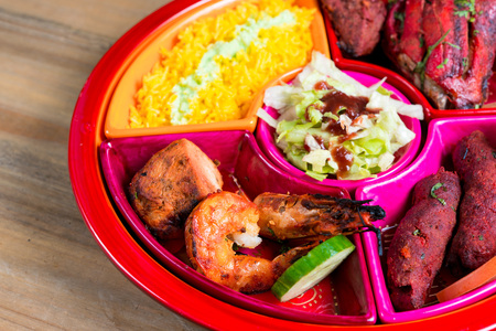 exotically: food specialities Mixed Grill Indian Flavor Stock Photo